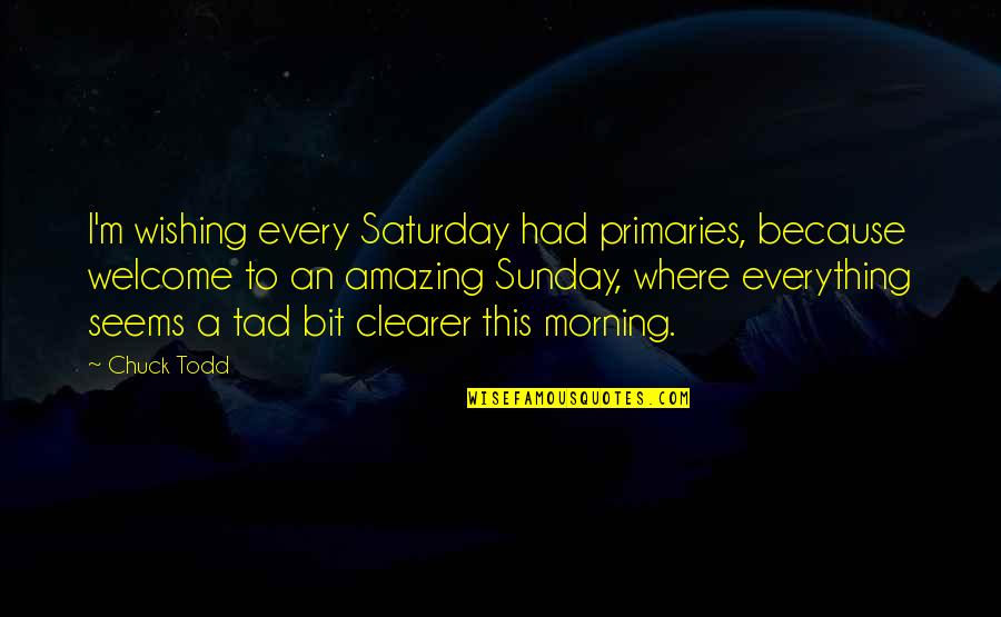 You're Amazing Because Quotes By Chuck Todd: I'm wishing every Saturday had primaries, because welcome