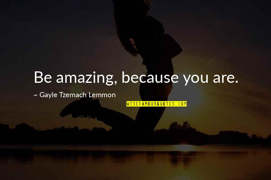 You're Amazing Because Quotes By Gayle Tzemach Lemmon: Be amazing, because you are.