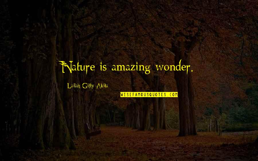 You're An Amazing Man Quotes By Lailah Gifty Akita: Nature is amazing wonder.