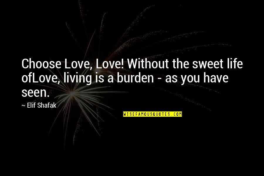 You're As Sweet As Quotes By Elif Shafak: Choose Love, Love! Without the sweet life ofLove,