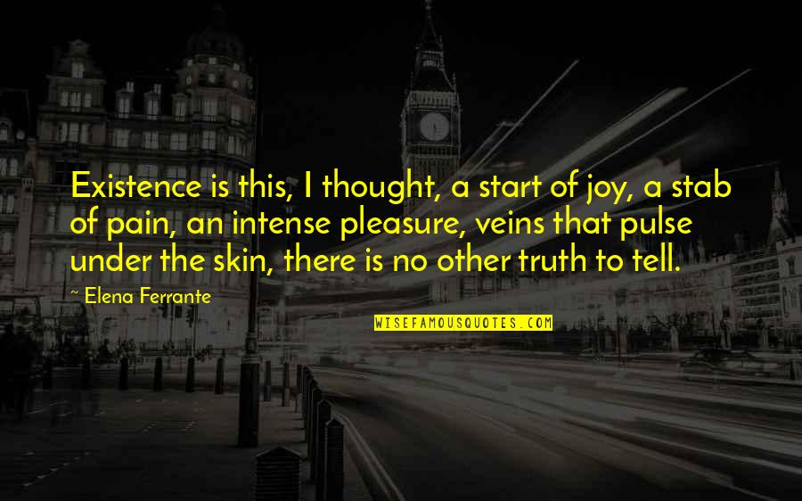 You're In My Veins Quotes By Elena Ferrante: Existence is this, I thought, a start of