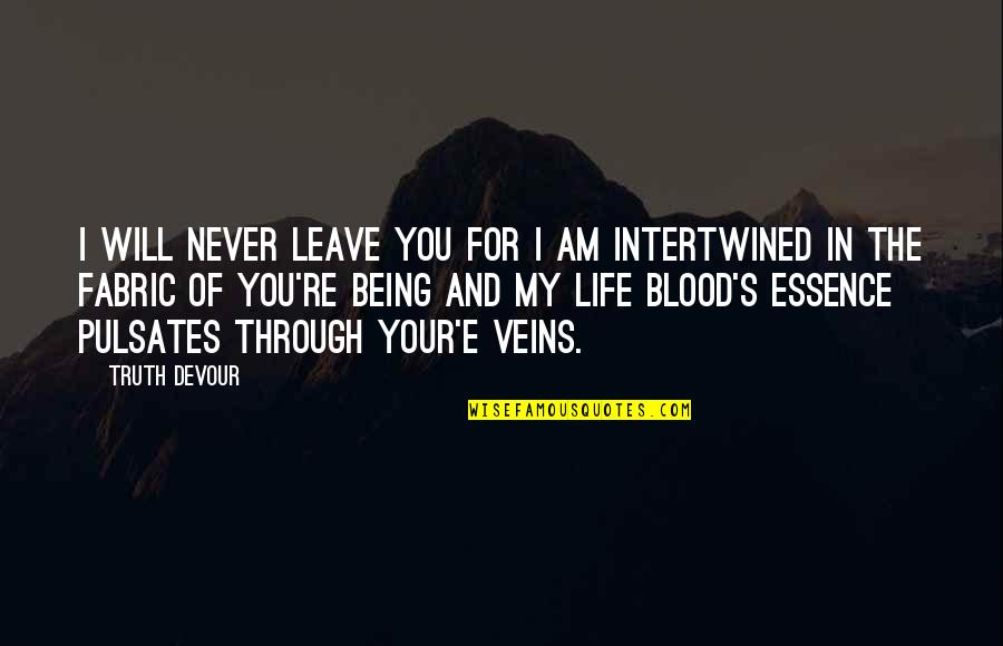 You're In My Veins Quotes By Truth Devour: I will never leave you for I am