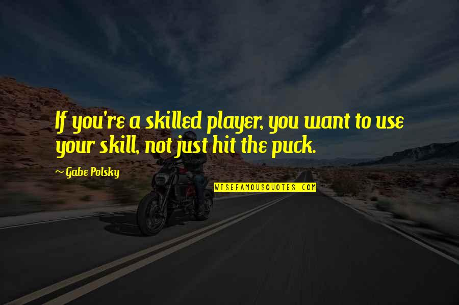 You're Just A Player Quotes By Gabe Polsky: If you're a skilled player, you want to