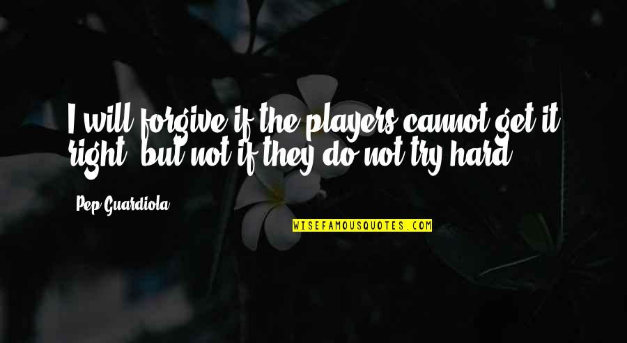 You're Just A Player Quotes By Pep Guardiola: I will forgive if the players cannot get