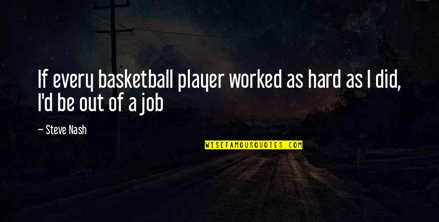 You're Just A Player Quotes By Steve Nash: If every basketball player worked as hard as