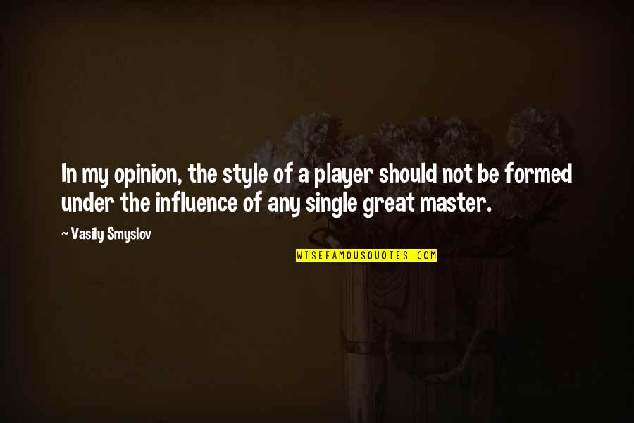 You're Just A Player Quotes By Vasily Smyslov: In my opinion, the style of a player