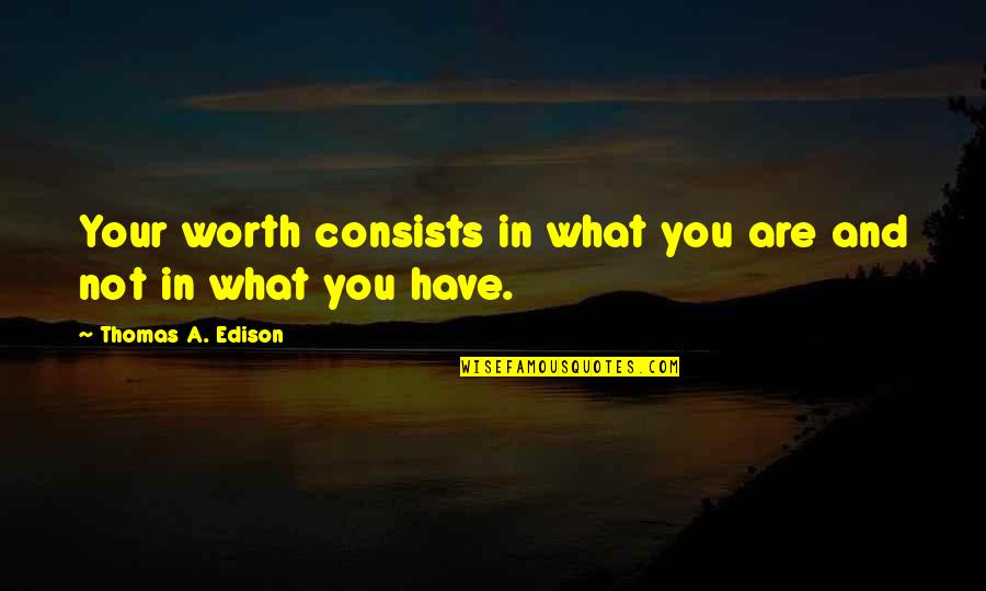 You're Just Not Worth It Quotes By Thomas A. Edison: Your worth consists in what you are and