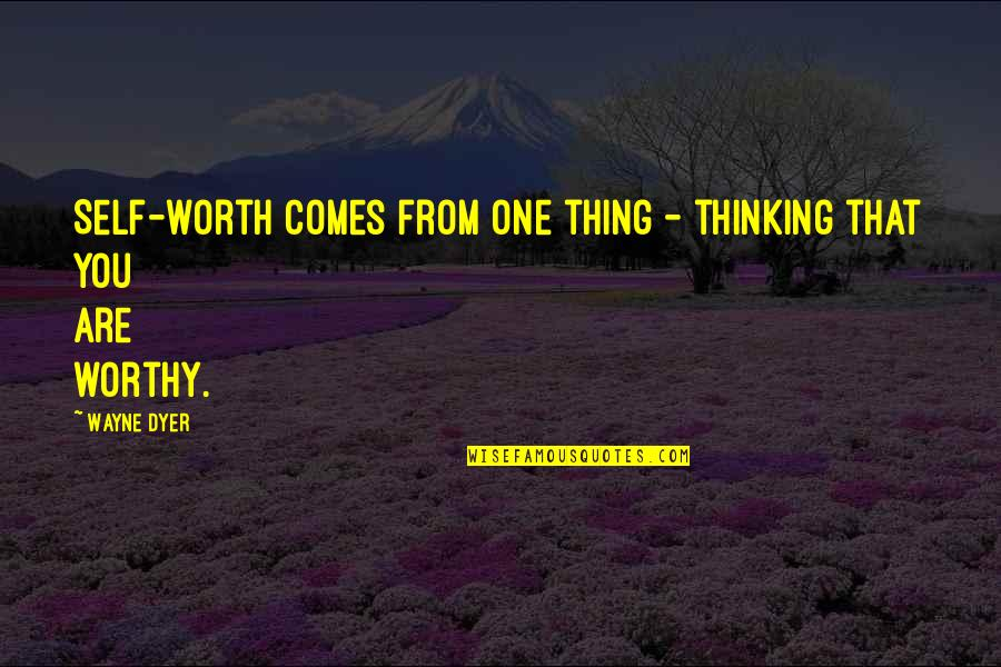 You're Just Not Worth It Quotes By Wayne Dyer: Self-worth comes from one thing - thinking that