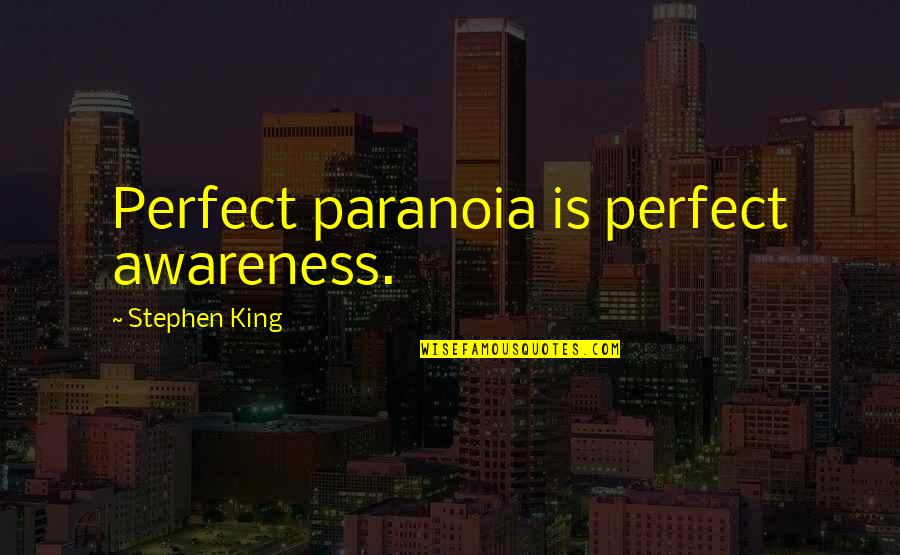 You're Just So Perfect Quotes By Stephen King: Perfect paranoia is perfect awareness.