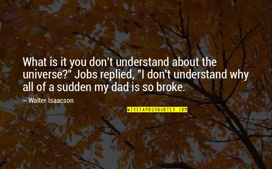 You're My Universe Quotes By Walter Isaacson: What is it you don't understand about the