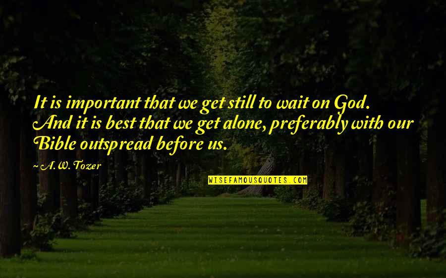 You're Not Alone Bible Quotes By A.W. Tozer: It is important that we get still to