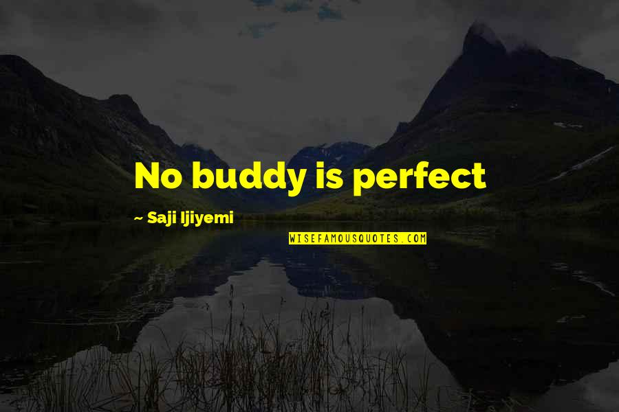 You're Not Perfect But I Love You Quotes By Saji Ijiyemi: No buddy is perfect