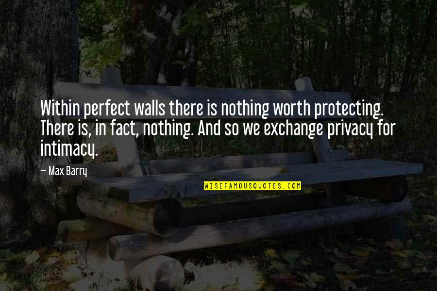 You're Not Perfect But You're Worth It Quotes By Max Barry: Within perfect walls there is nothing worth protecting.
