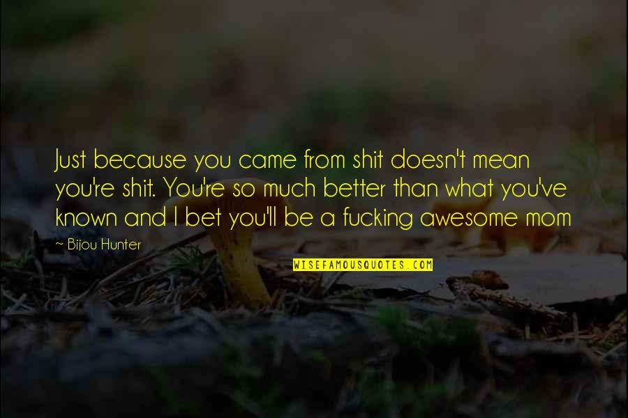 You're So Awesome Quotes By Bijou Hunter: Just because you came from shit doesn't mean