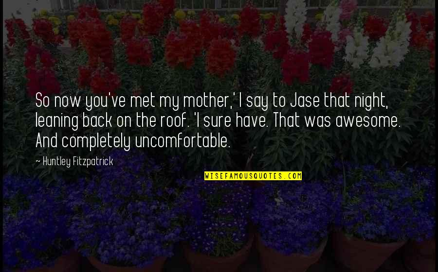 You're So Awesome Quotes By Huntley Fitzpatrick: So now you've met my mother,' I say