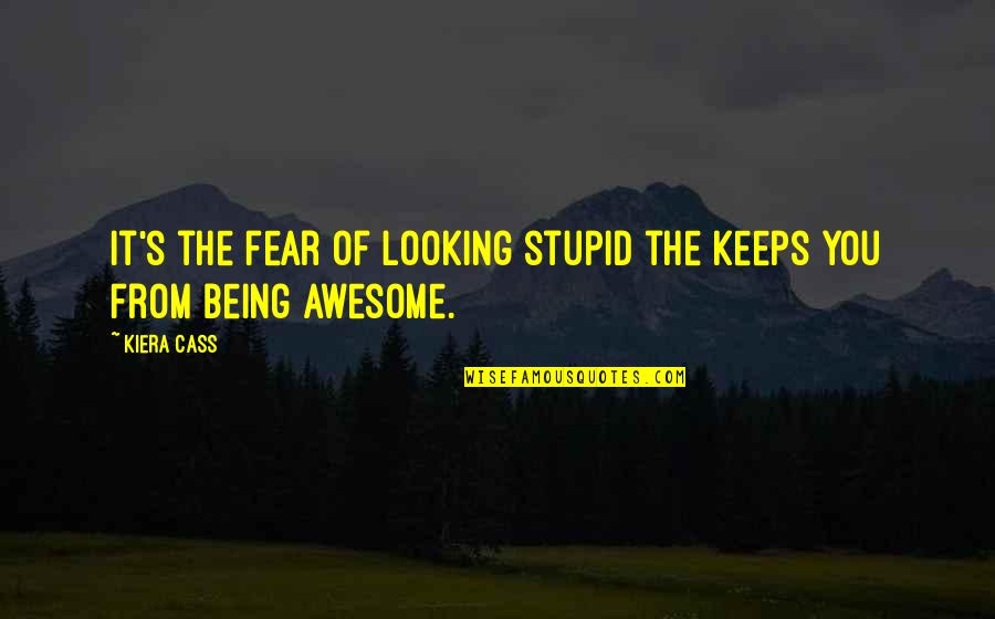 You're So Awesome Quotes By Kiera Cass: It's the fear of looking stupid the keeps