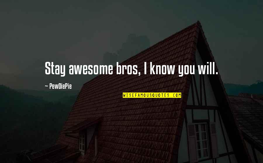 You're So Awesome Quotes By PewDiePie: Stay awesome bros, I know you will.
