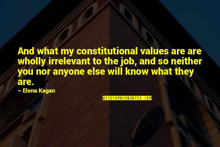 You're So Irrelevant Quotes By Elena Kagan: And what my constitutional values are are wholly