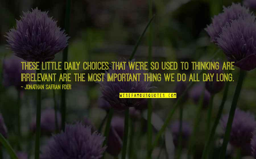 You're So Irrelevant Quotes By Jonathan Safran Foer: These little daily choices that we're so used