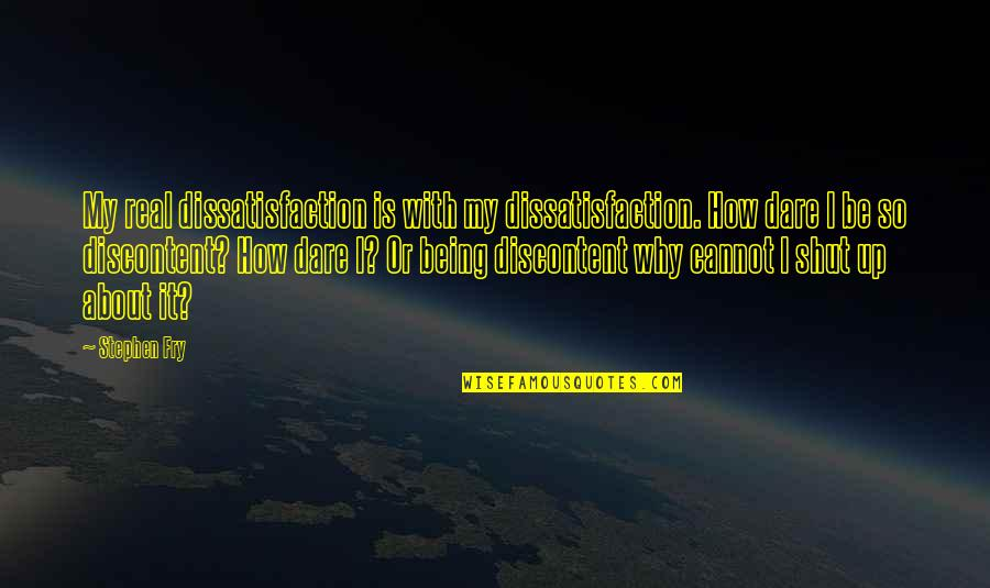 You're So Wack Quotes By Stephen Fry: My real dissatisfaction is with my dissatisfaction. How