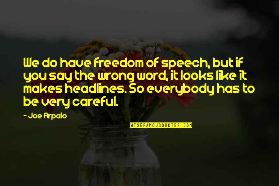 You're So Wrong Quotes By Joe Arpaio: We do have freedom of speech, but if