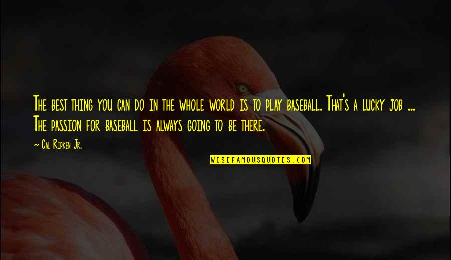 You're The Best Thing Quotes By Cal Ripken Jr.: The best thing you can do in the