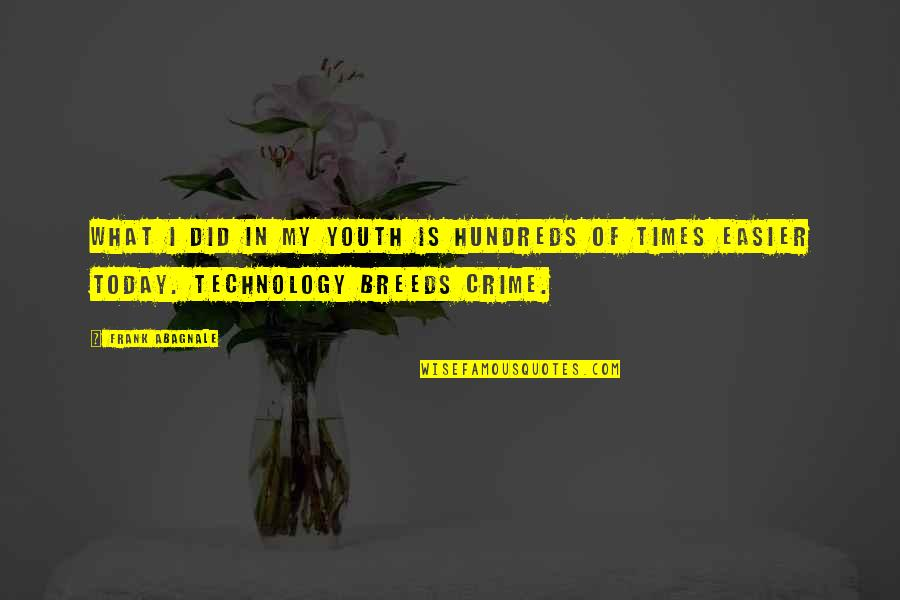 Youth And Crime Quotes By Frank Abagnale: What I did in my youth is hundreds