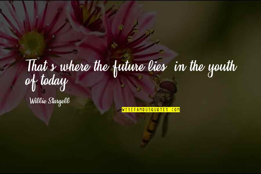 Youth Our Future Quotes By Willie Stargell: That's where the future lies, in the youth