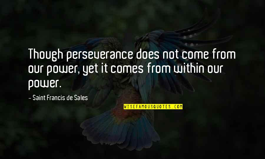 Youth Pastors Quotes By Saint Francis De Sales: Though perseverance does not come from our power,