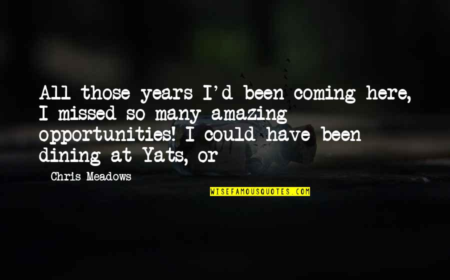 You've Been Missed Quotes By Chris Meadows: All those years I'd been coming here, I