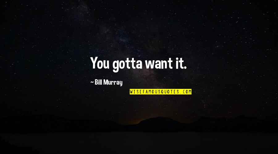 You've Gotta Want It Quotes By Bill Murray: You gotta want it.