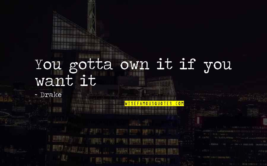 You've Gotta Want It Quotes By Drake: You gotta own it if you want it