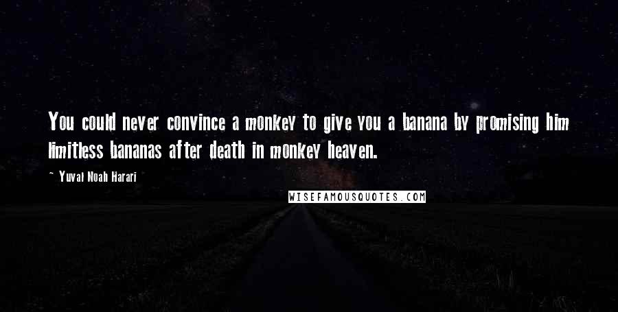Yuval Noah Harari quotes: You could never convince a monkey to give you a banana by promising him limitless bananas after death in monkey heaven.