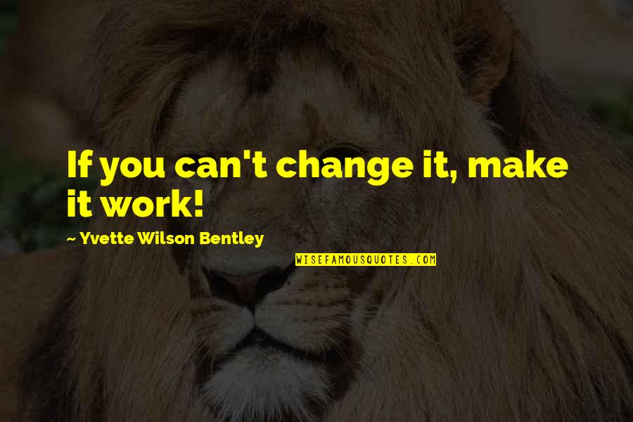 Yvette's Quotes By Yvette Wilson Bentley: If you can't change it, make it work!