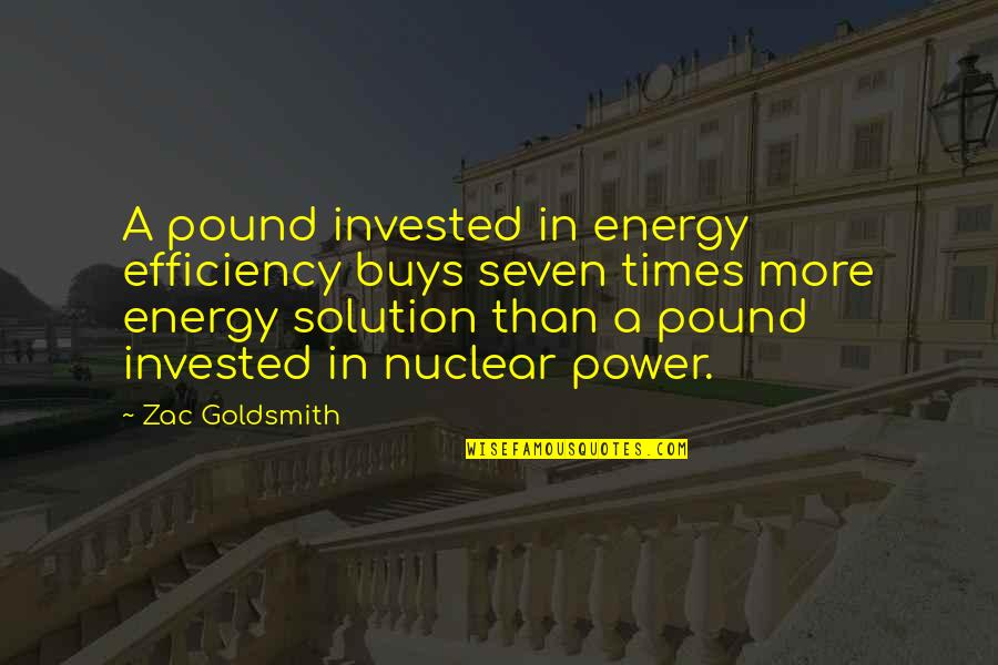 Zac Quotes By Zac Goldsmith: A pound invested in energy efficiency buys seven