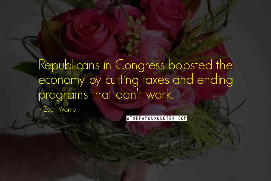 Zach Wamp quotes: Republicans in Congress boosted the economy by cutting taxes and ending programs that don't work.
