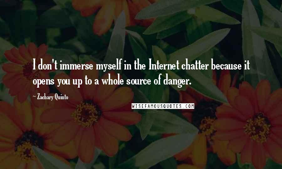 Zachary Quinto quotes: I don't immerse myself in the Internet chatter because it opens you up to a whole source of danger.
