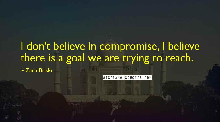 Zana Briski quotes: I don't believe in compromise, I believe there is a goal we are trying to reach.