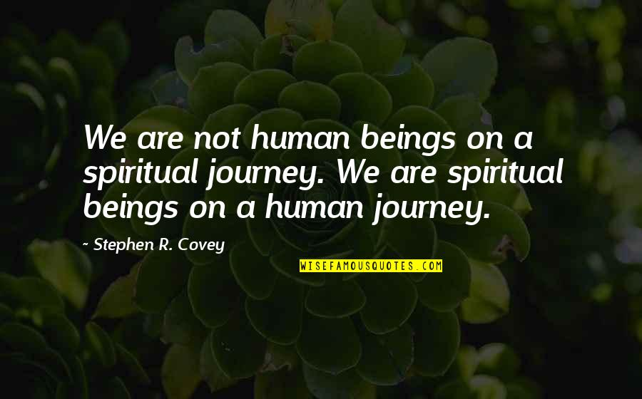 Zark Quotes By Stephen R. Covey: We are not human beings on a spiritual