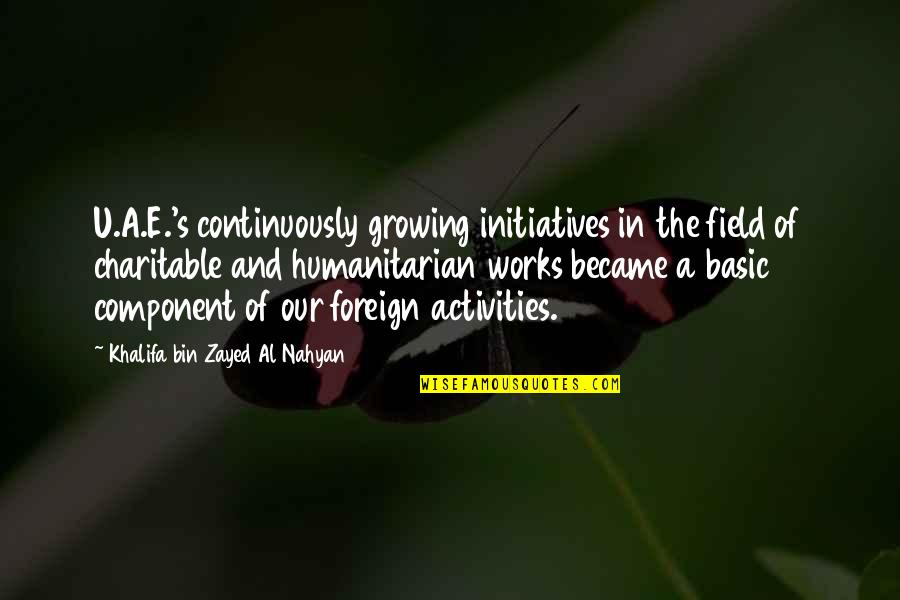 Zayed Al Nahyan Quotes By Khalifa Bin Zayed Al Nahyan: U.A.E.'s continuously growing initiatives in the field of
