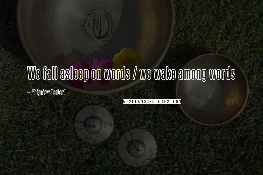 Zbigniew Herbert quotes: We fall asleep on words / we wake among words