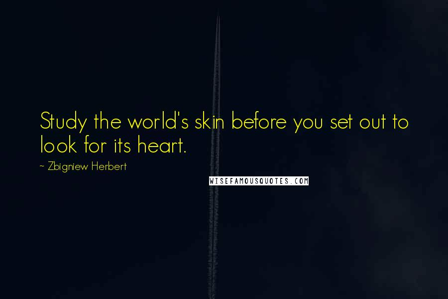 Zbigniew Herbert quotes: Study the world's skin before you set out to look for its heart.