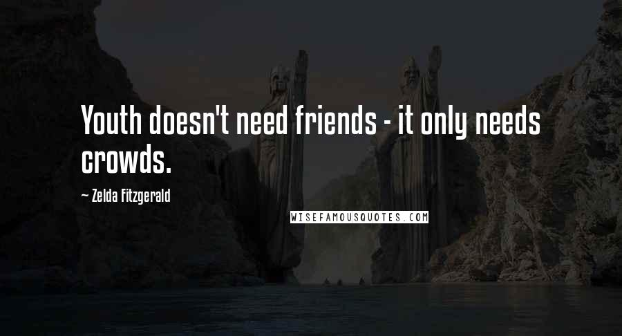 Zelda Fitzgerald quotes: Youth doesn't need friends - it only needs crowds.