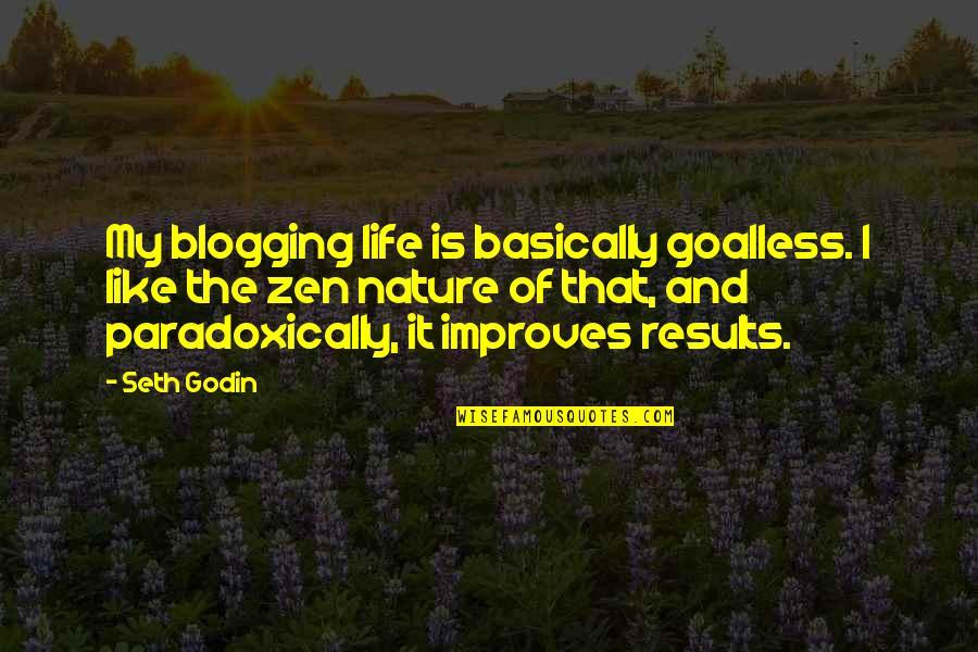 Zen Like Quotes By Seth Godin: My blogging life is basically goalless. I like