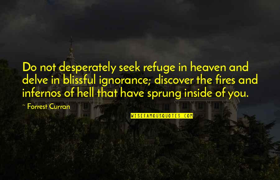 Zen Philosophy Quotes By Forrest Curran: Do not desperately seek refuge in heaven and