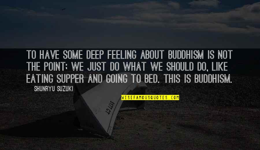 Zen Philosophy Quotes By Shunryu Suzuki: To have some deep feeling about Buddhism is