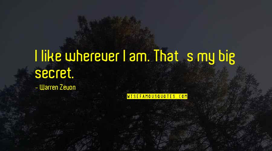 Zevon Quotes By Warren Zevon: I like wherever I am. That's my big