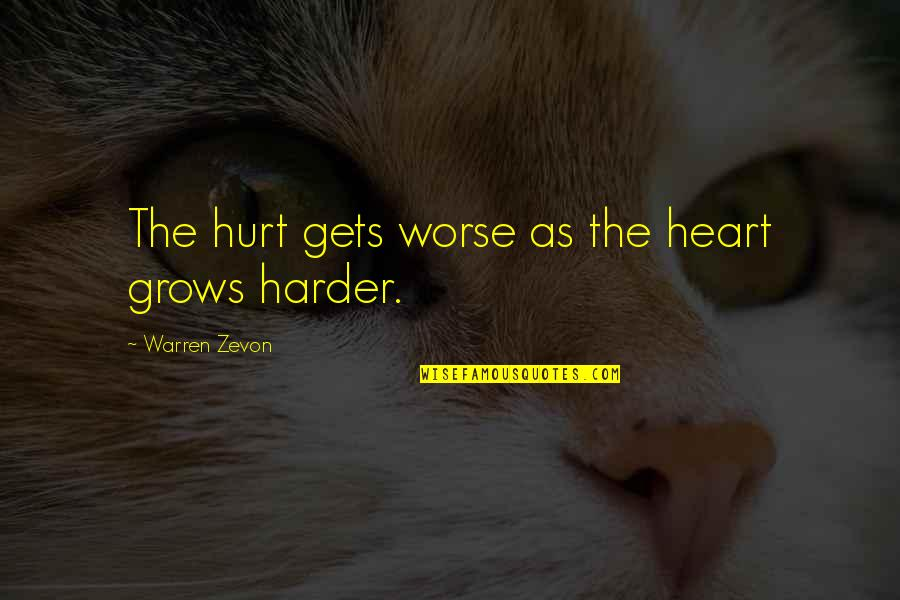 Zevon Quotes By Warren Zevon: The hurt gets worse as the heart grows
