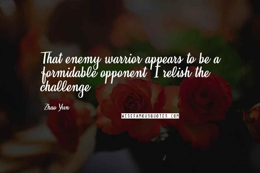 Zhao Yun quotes: That enemy warrior appears to be a formidable opponent. I relish the challenge.