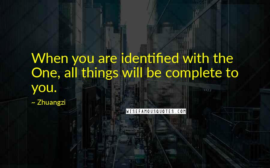 Zhuangzi quotes: When you are identified with the One, all things will be complete to you.